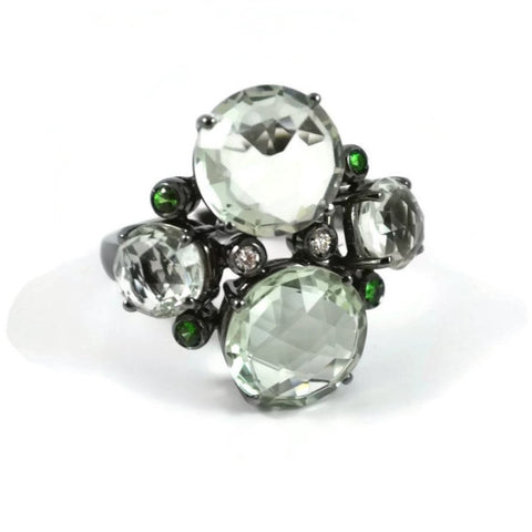 "A & Furst ""Bouquet"" Ring with Prasiolite, Tsavorite Garnet and Diamonds, 18k Blackened Gold."