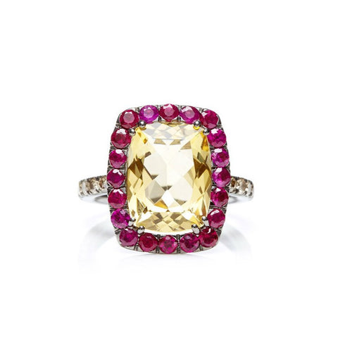 "A & Furst ""Dynamite"" Cocktail Ring with Citrine, Rubies and Light Brown Diamonds, 18k Blackened Gold."