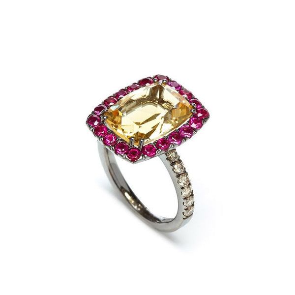 A-FURST-DYNAMITE-COCKTAIL-RING-CITRINE-RUBIES-BROWN-DIAMONDS-BLACKENED-GOLD- A1301NC2Y