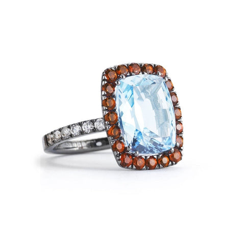 "A & Furst ""Dynamite"" Cocktail Ring with Blue Topaz, Orange Sapphire and Diamonds, 18k Blackened Gold."