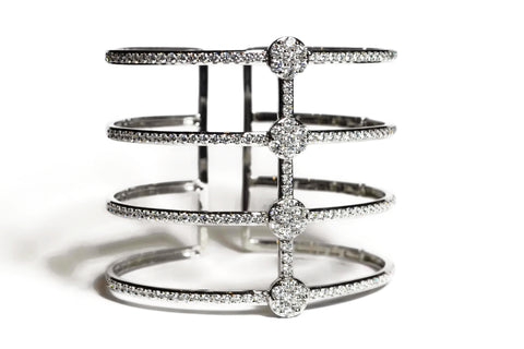 AF Collection - 4 Diamond Rows Cuff Bracelet, 18k White Gold