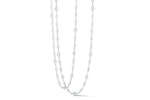 "AF Collection - Diamond Chain Necklace with 72 Round Diamonds, 31,5"" length, Platinum"