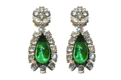 AF Collection - Drop Earrings with Green Tourmaline, Moonstones and Diamonds, White Gold
