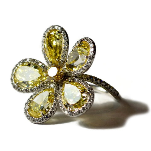 AF Collection - Flower Ring with Fancy Intense Yellow Diamonds
