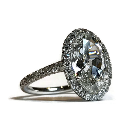 AF Collection One of a Kind Halo Ring with 1 Oval Diamond 3.07 carats and Round Diamonds, Platinum
