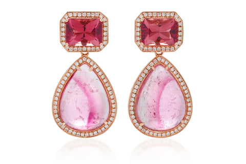 AF Collection - One of a Kind Drop Earrings with Rubellite, Pink Tourmaline and Diamonds, Rose Gold