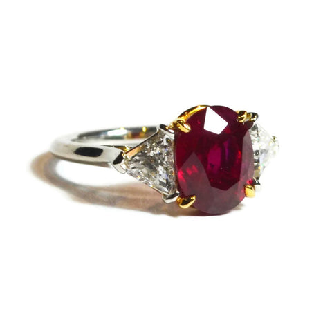 AF Collection One of a Kind Ring with Burma Ruby and Diamonds, Platinum and 18k Yellow Gold