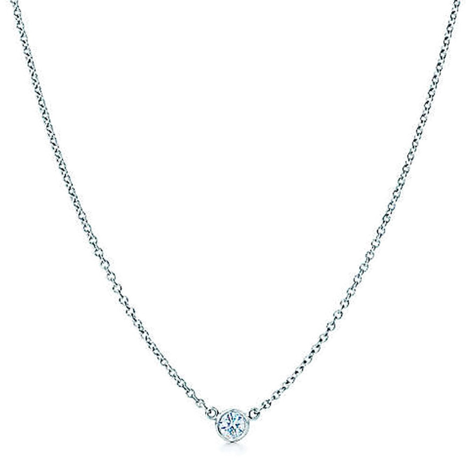 "AF Jewelers ""Station"" Necklace with 1 Diamonds, 18"" length, 18k White Gold."