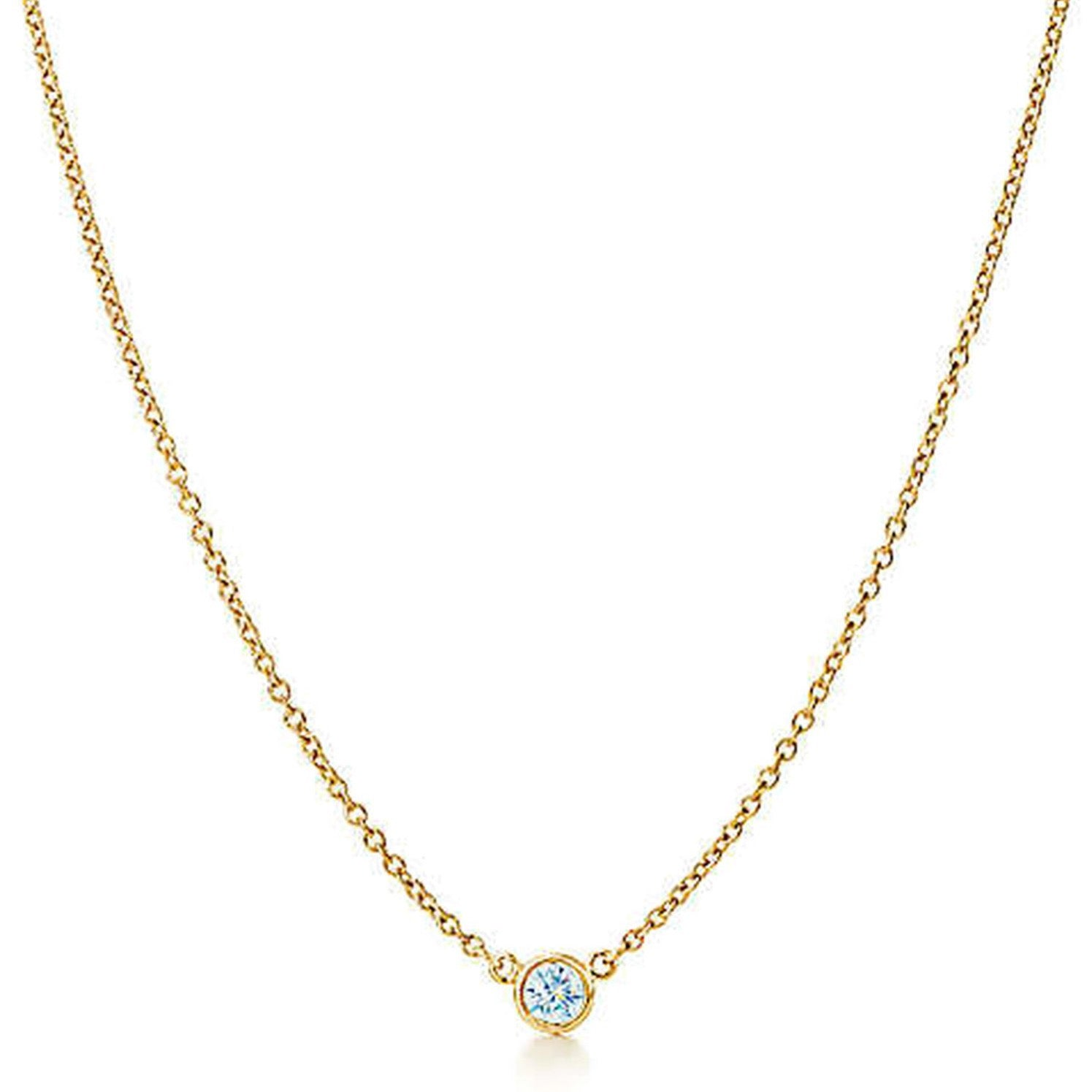 "AF Jewelers ""Station"" Necklace with 1 Diamonds, 18"" length, 18k Rose Gold."