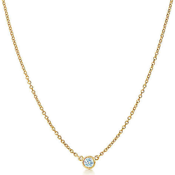 "AFJ Diamond Collection - Station Necklace with 1 Diamonds, 18"" length, 18k Yellow Gold"