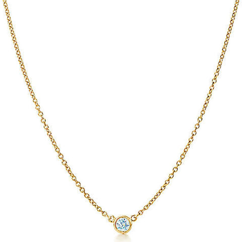 "AF Jewelers ""Station"" Necklace with 1 Diamonds, 18"" length, 18k Yellow Gold."