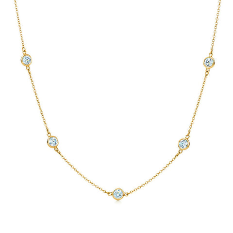 "AF Jewelers ""Station"" Necklace with 5 Diamonds, 18"" length, 18k Yellow Gold."