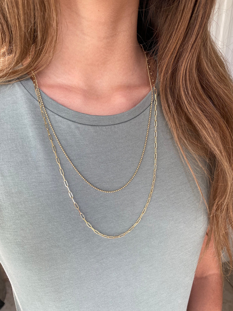 AFJ Gold Collection - Double Chain Necklace, 18k Yellow Gold
