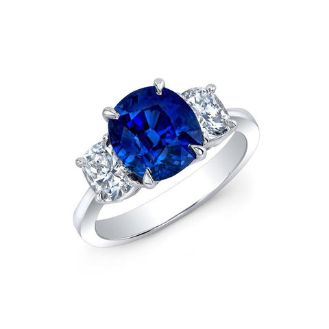 AF Jewelers One of Kind Ring with Cushion Ceylon Blue Sapphire 3.72 Ct. Natural Color and Diamonds, Platinum.