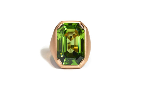 AF Collection One of a Kind Cocktail Ring with Emerald-cut Peridot, 18k Rose Gold