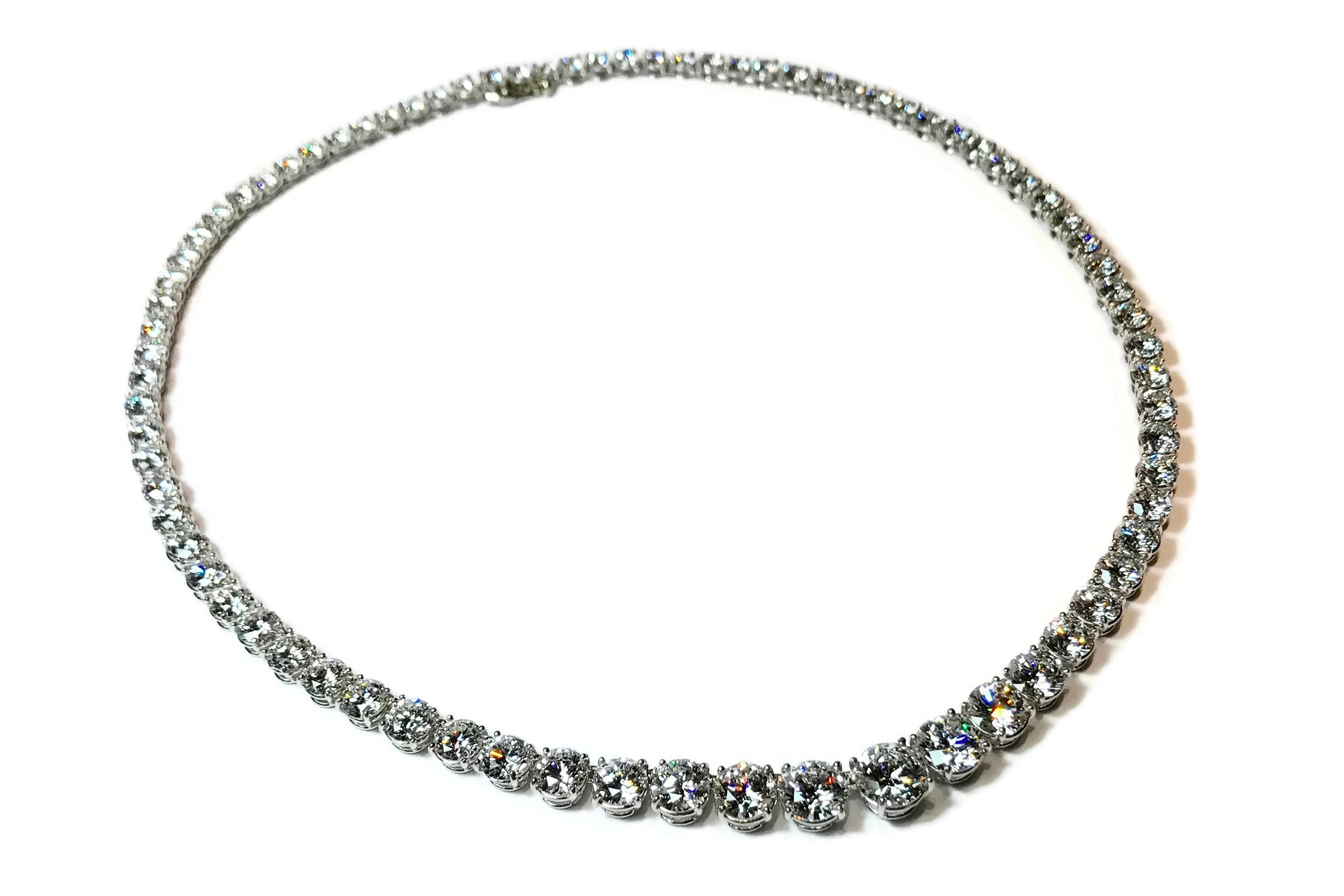 AF Collection One of a Kind Graduated Diamond Riviere Necklace, Platinum