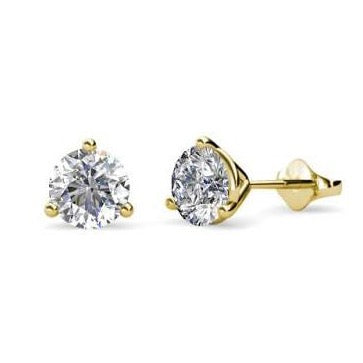 AF Jewelers, 0.15 carats Diamond Studs Earrings, Yellow Gold