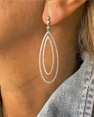 AF Collection - Diamond Drop Earrings, 18k White Gold