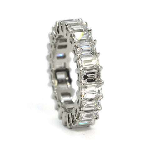 AF Jewelers Eternity Band Ring with Emerald-cut Diaomonds 5.43 carats, Platinum