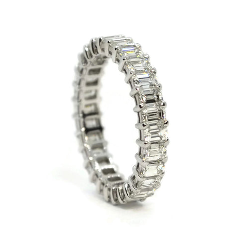AF Jewelers - Eternity Band Ring with Emerald-cut Diamonds 3.22 carats, Platinum