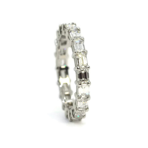 AF Jewelers - Eternity Band Ring with Emerald-cut Diamonds horizontal 2.34 carats, Platinum