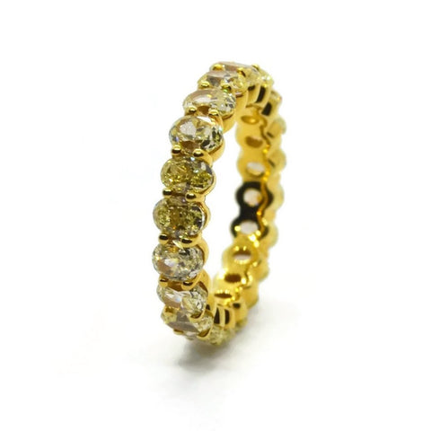 AF Jewelers Eternity Band Ring with Fancy Yellow Oval-cut Diaomonds 4.76 ct., 18k Yellow Gold