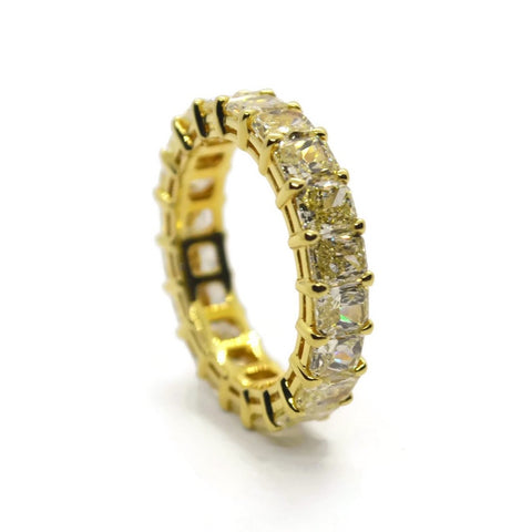 AF Jewelers Eternity Band Ring with Fancy Yellow Radiant-cut Diaomonds 5.48 ct., 18k Yellow Gold
