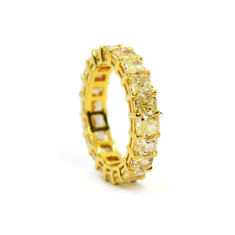 AF Jewelers - Eternity Band Ring with Fancy Yellow Radiant-cut Diaomonds 5.74 carats, 18k Yellow Gold