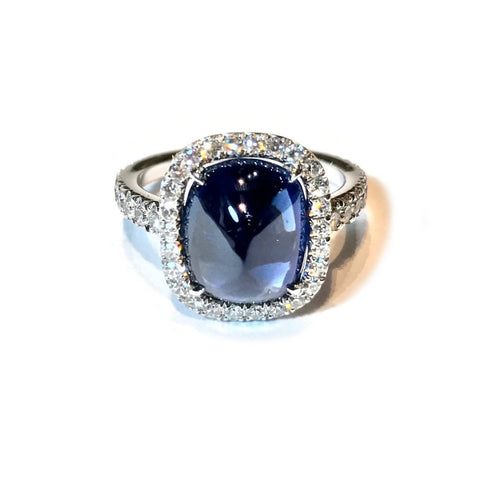AF Jewelers One of a Kind Halo Ring with Cabochon Blue Sapphire Natural Color 4.83 Ct. and Diamonds, 18k White Gold.