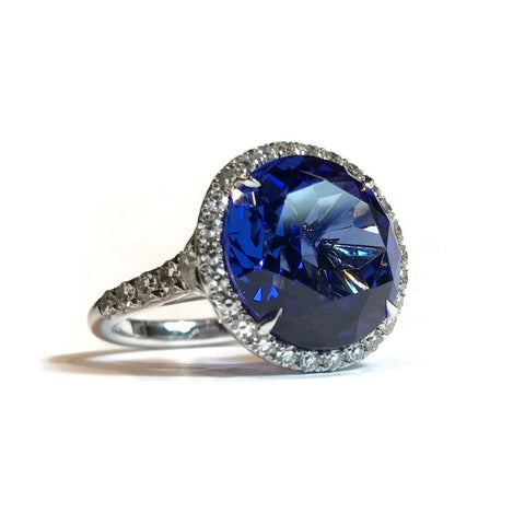AF Collection One of a Kind Halo Ring with Tanzanite and Diamonds, Platinum
