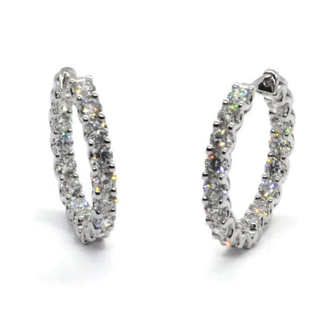 AF Collection Hoop Earrings with Diamonds, 18k White Gold. Diameter 26 mm.