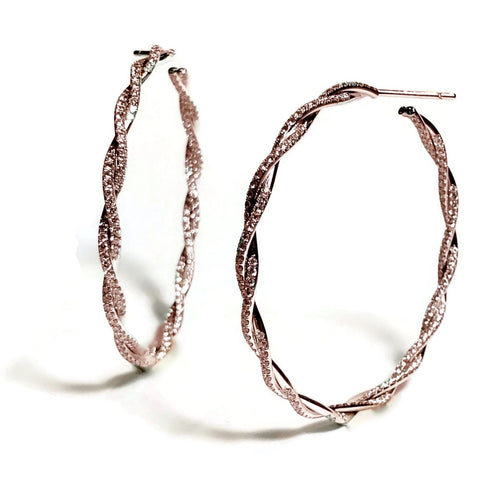 AF Collection Torchon Diamond Hoop Earrings, 18k Rose Gold