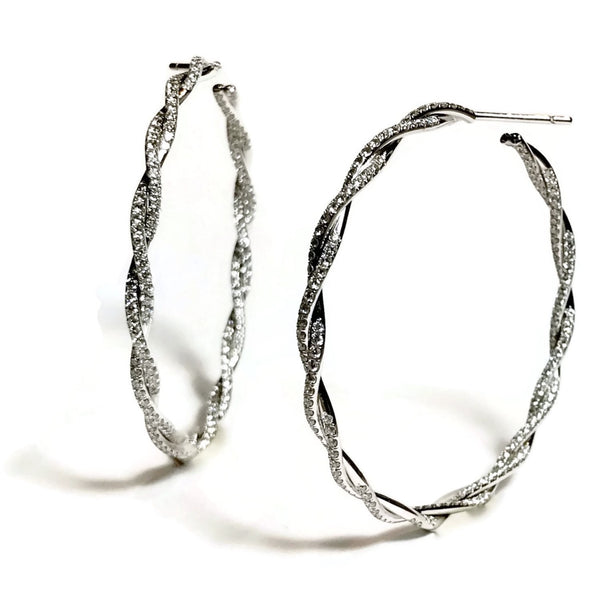 AFJ Diamond Collection - Twisted Vine Diamond Hoop Earrings, 18k White Gold