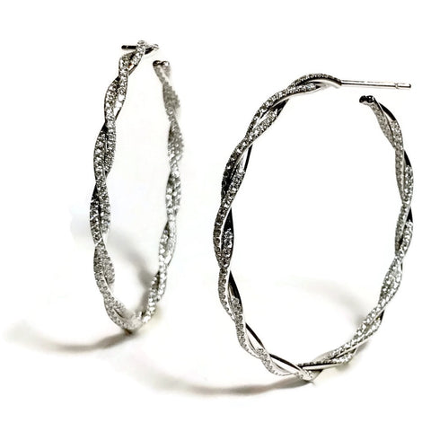 AF Collection Twisted Vine Diamond Hoop Earrings, 18k White Gold