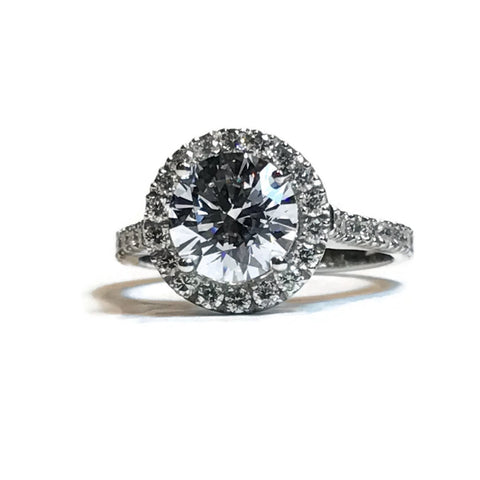 AF Jewelers Mounting Halo Ring for 1 Round Diamond approx 1.50 carat mm 7.20 with Diamonds, 18k White Gold.