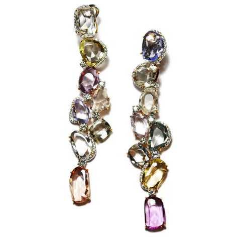 AF Jewelers One of a Kind Drop Earrings with Multicolor Sapphires and Diamonds