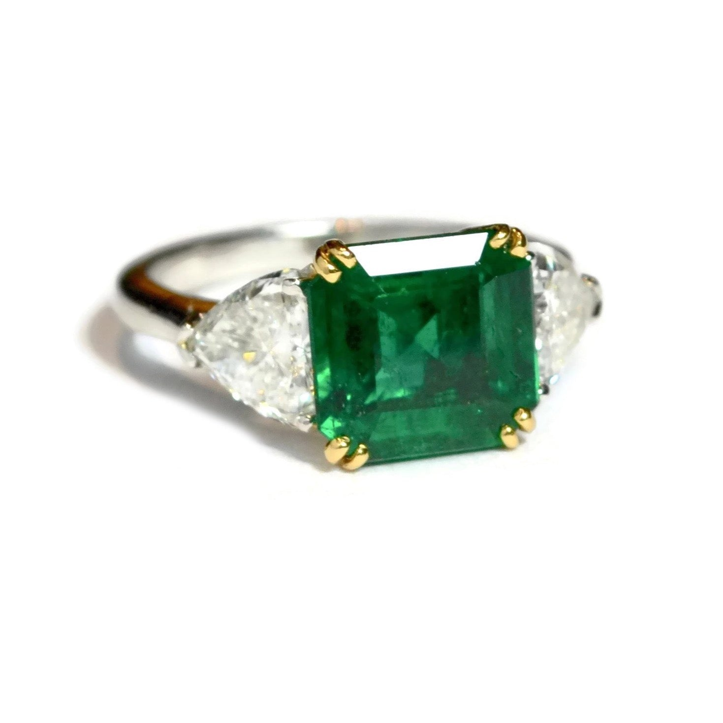 gold emerald shape ring pear white nigaam and picture diamond of