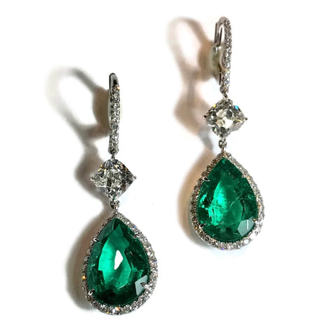 AF Collection One of a Kind Pear-shaped Colombian Emeralds and Diamonds Drop Earrings, Platinum