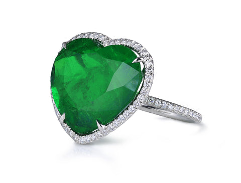 AF Collection One of a Kind Ring with Heart Shaped Colombian Emerald and Diamonds.