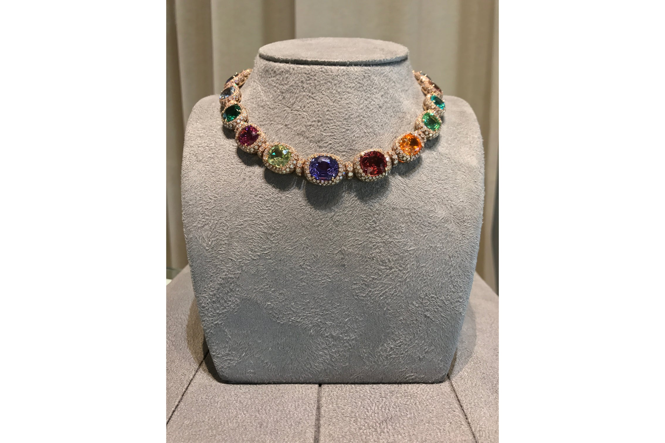 AF Collection One of a Kind Multicolor Gemstones Necklace with Diamonds, 18k Rose Gold