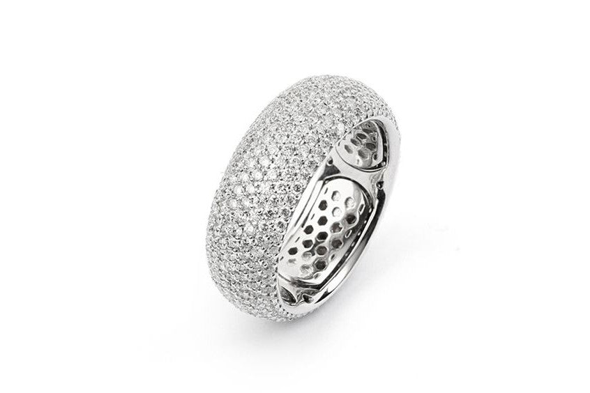 AF Jewelers Diamond Pave' Medium Band Ring, 18k White Gold.