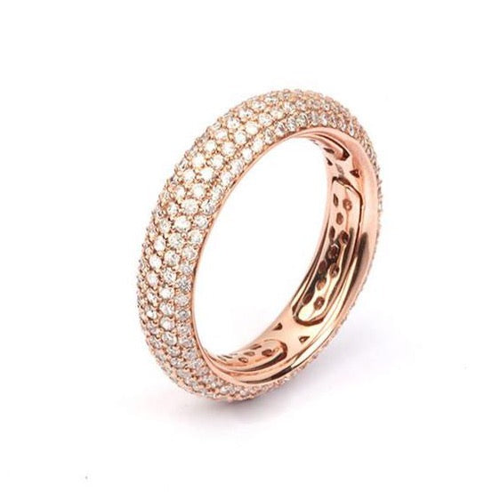 AF Jewelers Diamond Pave' Small Band Ring, 18k Rose Gold.