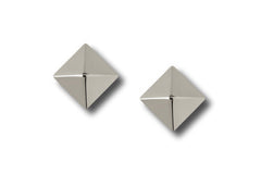 "AF Collection ""Pyramid"" Stud Earrings, White Gold."