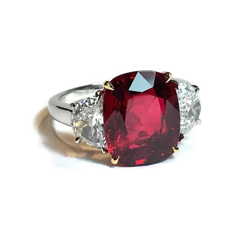 AF Collection One of a Kind Ring with Natural Burma Red Spinel and Diamonds, Platinum