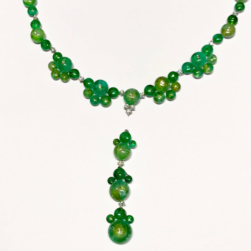AF-JEWELERS-ROUND-CABOCHON-EMERALD-DIAMONDS-Y-NECKLACE-INTERCHANGEABLE-PENDANT