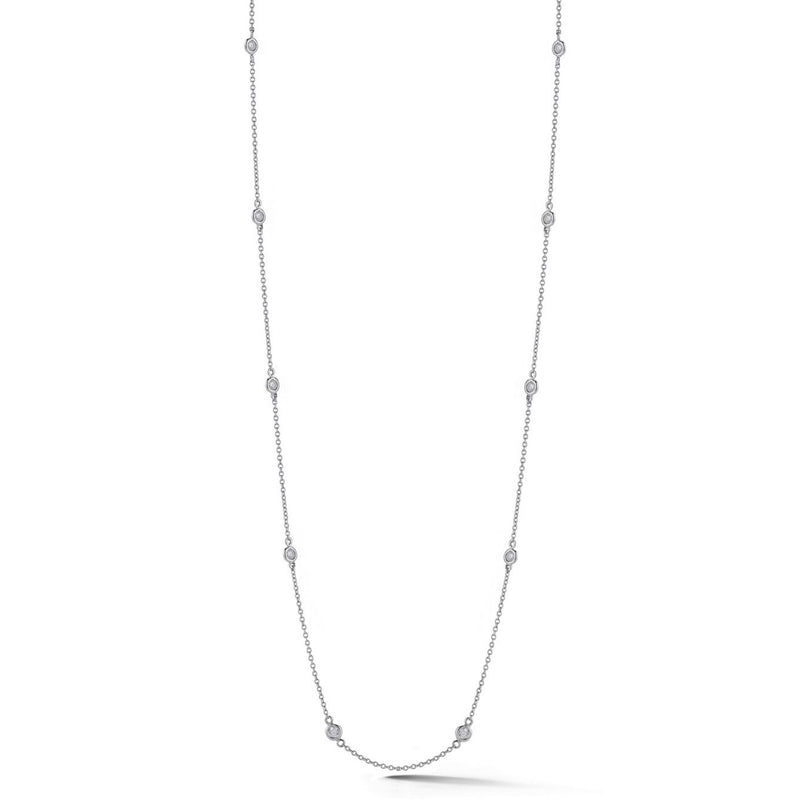 "AFJ Diamond Collection - Station Necklace with 16 Diamonds, 34"" length, 18k White Gold."