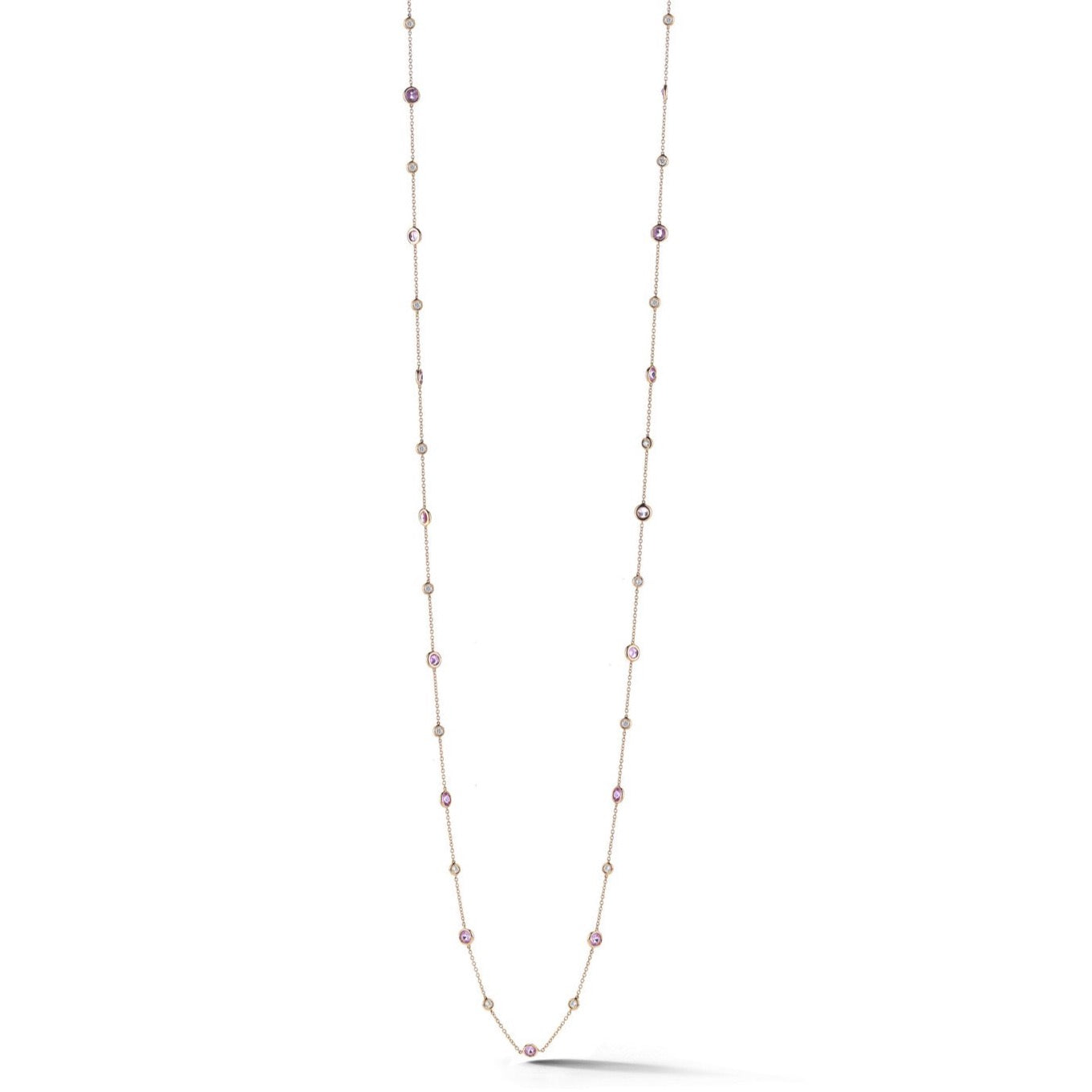 "AF Jewelers ""Station"" Necklace with Pink Sapphires and Diamonds, 18k Rose Gold. 34"" length."