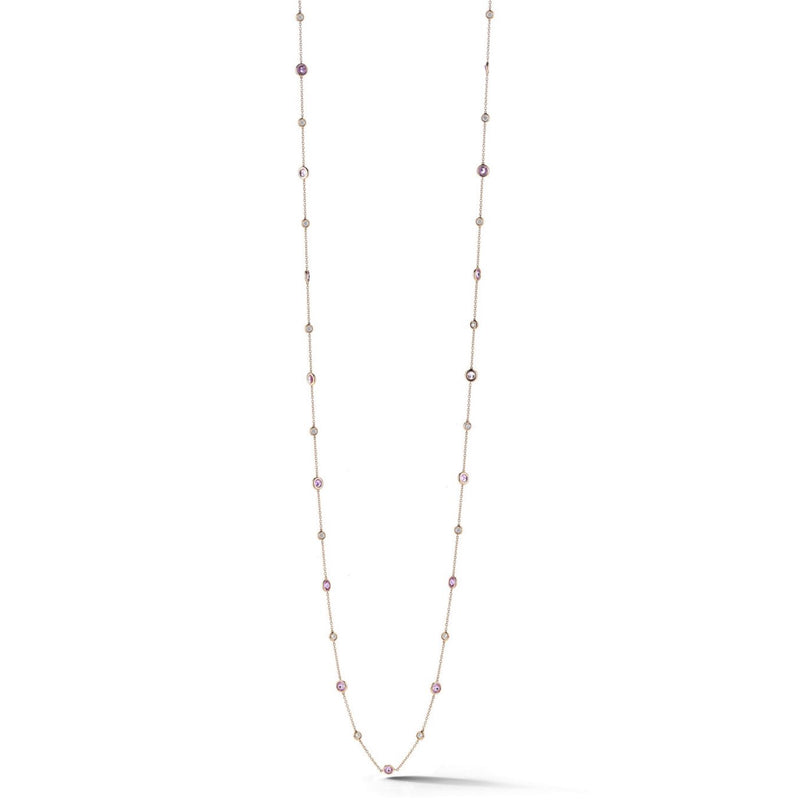"AFJ Diamond Collection - Station Necklace with Pink Sapphires and Diamonds, 18k Rose Gold. 34"" length."
