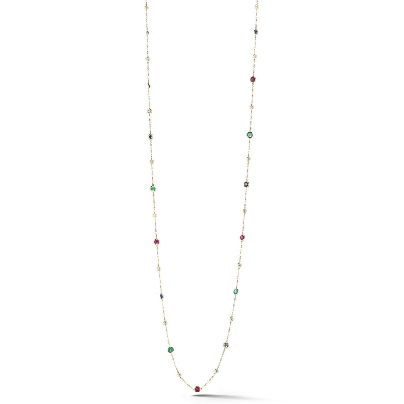 "AF Jewelers ""Station"" Necklace with Rubies, Emeralds, Blue Sapphires and Diamonds, 18k Yellow Gold. 34"" length."