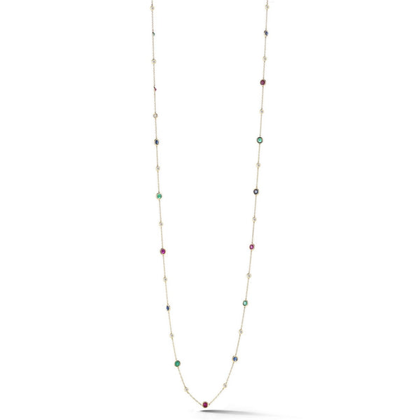 "AFJ Diamond Collection - Station Necklace with Rubies, Emeralds, Blue Sapphires and Diamonds, 18k Yellow Gold. 34"" length."